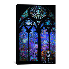"""Stained Glass Window II"" by Banksy, 60x40x1.5"""
