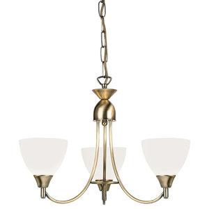 Alton 3-Arm Ceiling Light With Opal Glass, Dual Mount, Antique Brass