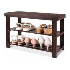 3-Tier Bamboo Wood Shoe Rack Bench Entryway Shoe Storage, Brown