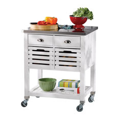 Modern Kitchen Cart Stainless Steel Top Slatted Doors And Lower Shelf White