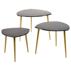 Black Enamel and Aluminium Nesting Tables, Set of 3