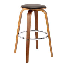 Armen Living Harbor 25-inch Swivel Counter Stool In Brown And Walnut