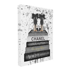 Stupell Industries Glam Fashion Book Stack Grey Bow Pump Heels Ink, 30 x 40