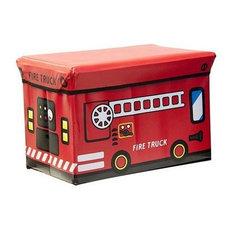 Kids Folding Ottoman Storage Seat Toy Box, Small, Fire Truck