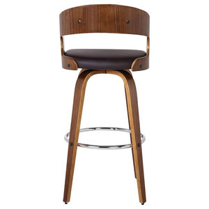 "Armen Living Shelly 26"" Counter Height Barstool, Walnut/Brown"