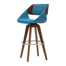 Cyprus Fabric Bar Stool, Santorini Teal, Walnut