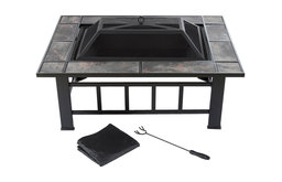 """Pure Garden Rectangular Tile Fire Pit With Cover, Black, 37"""""""