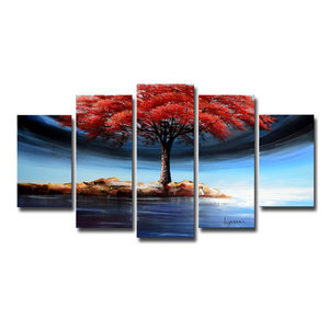 Designart Handpainted Family of Trees on The Water Forest Oil Painting