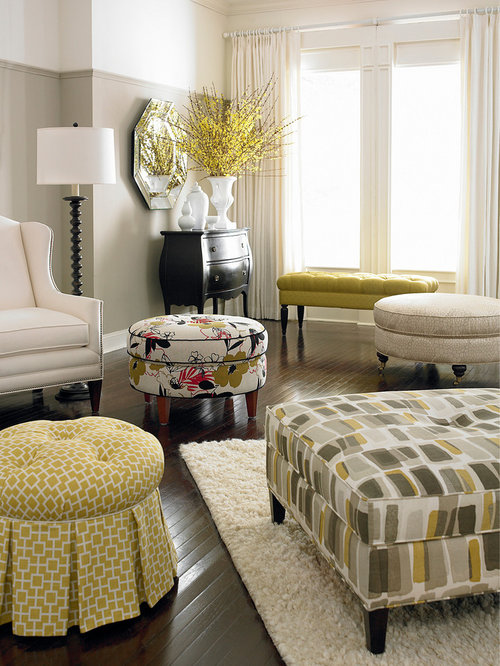 HGTV Home Custom Round Ottoman By Bassett Furniture   Footstools And  Ottomans