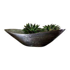 Luxe Industrial Modern Spun Bronze Swoop Bowl, Wide Curve Metallic Textured