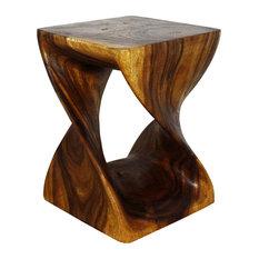 "Haussmann Original Wood Twist End Table 15""x15""x23"", Livos Walnut Oil"