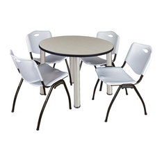 Kee 42 Round Breakroom Table- Maple/ Chrome & 4 'M' Stack Chairs- Grey