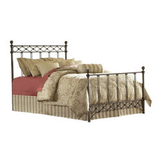FASTF - Queen Size Metal Bed With Headboard and Footboard, Copper Chrome Finish - Panel Beds