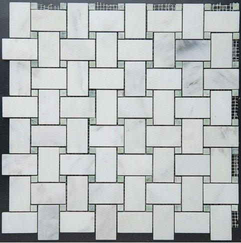 Basketweave w. Ming Green Dot Mosaic - Tile