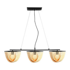 3 light modern industrial wood beads black chandelier