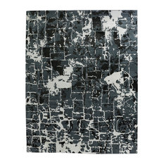 Cecily Global Abstract Pattern Monochrome Gray Bamboo Silk Rug, 10'x14'