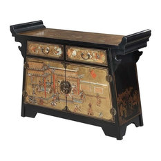 Convenience Concepts Touch Of Asia Console Tv Stand Black Entertainment Centers