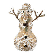 White and Tan Hemp Snowman with LED Lighting made of Hemp/LED Lights/Paper Size