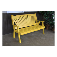 4' Pine Bench in Fanback Style, Canary Yellow