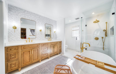 Bathroom of the Week: Modern Style in White, Wood and Brass