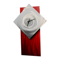 miles shay metal wall art decor abstract contemporary modern sculpture clock ruby 2 - Modern Clocks