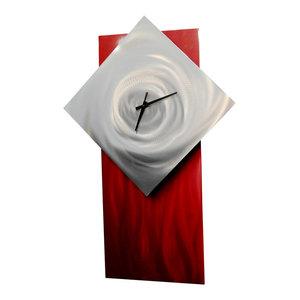 Metal Wall Art Decor Abstract Contemporary Modern Sculpture- Clock Ruby 2