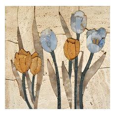 """Mosaic Tile Art, Tulip Blossoms, 24""""x24"""""""