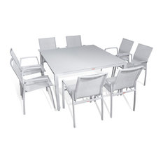 Outdoor Patio Furniture New Aluminum Gray Frosted Glass 9 Piece, Square Dining T