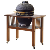 "Duluth Forge 18"" Ceramic Charcoal Kamado Grill With Table, Brown Spice"