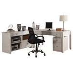 Parker House - Boca 3-Piece L-Shaped Desk and Credenza, Cottage White - Free Shipping & Complete Setup Included!