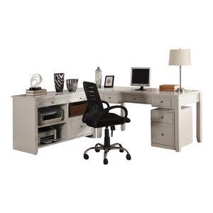 Boca 3-Piece L-Shaped Desk and Credenza, Cottage White