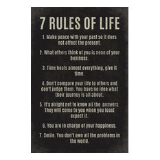 Keep Calm Collection - 7 Rules Of Life, motivational poster print - Prints and Posters