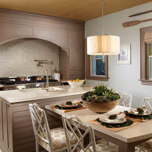 Mid-sized tropical enclosed kitchen ideas - Mid-sized island style single-wall marble floor enclosed kitchen photo in Miami with an undermount sink, shaker cabinets, gray cabinets, concrete countertops, blue backsplash, mosaic tile backsplash, stainless steel appliances and an island