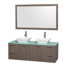 "Amare 60"" Gray Oak Double Sink Vanity Set With Green Glass Top and 58"" Mirror"