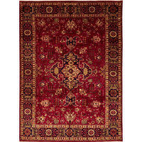 "Tabriz Hand Knotted Area Rug, Red, 6'8""x9'5"""