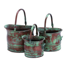 Metal Planters With Rustic Style, Green, 3 Piece Set