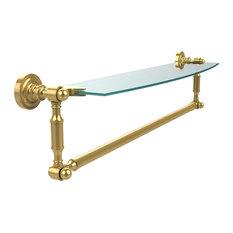 """24""""x5"""" Glass Shelf With Towel Bar, Polished Brass"""