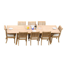 "9-Piece Teak Dining Set, 117"" Extension Rectangle Table, 8 Giva Arm Chairs"