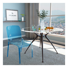 LeisureMod Murray Lucite Stackable Molded Dining Side Chair, Blue