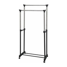 Modern Clothes Rack, Metal, Double Adjustable Hanging Rails and Wheels