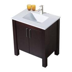 Parsons 31 Quartz Top Vanity, Dark Walnut, White Sink, White Quartz Countertop