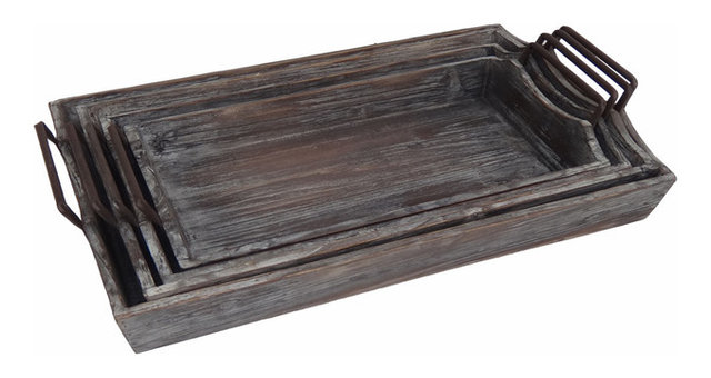 Weathered Wooden Trays, Set Of 4