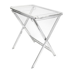 LeisureMod Victorian Acrylic Foldable Accent Chairside End Tray Table, Clear