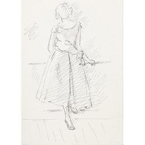 "Laurent Marcel Salinas "" Woman In Dress 126"" Ink Drawing"