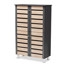 Gisela Two-Tone Oak and Dark Gray 4-Door Shoe Storage Cabinet