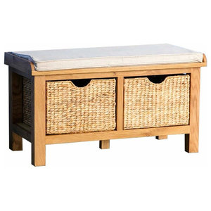 Contemporary Storage Bench in Solid Oak Wood with 2 Baskets and Padded Seat