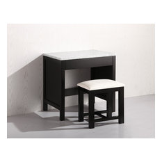 """Design Element MUT London 30"""" Free Standing Make-Up Table with Marble Top and D"""