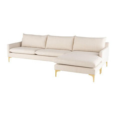 Anders Reversible Sectional Sand Fabric/Brushed Gold Legs