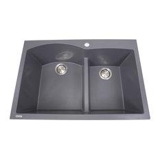 Nantucket Sinks 60/40 Double Bowl Dual-Mount Granite Composite, Titanium