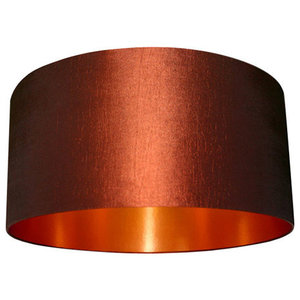 Fabric Lampshade, Chestnut and Brushed Copper, 35x20 cm